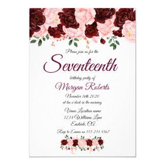 Inbjudan för födelsedagsfest för Burgundy rosa ros