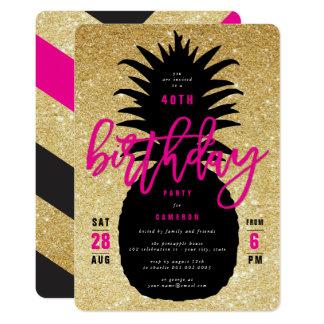 Inbjudan för födelsedagsfest för guld- 12,7 x 17,8 cm inbjudningskort