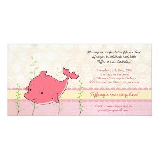 Inbjudan för födelsedagsfest för rosa fotokort