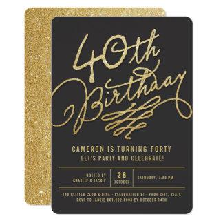 Inbjudan för födelsedagsfest för vuxen 40th för 12,7 x 17,8 cm inbjudningskort