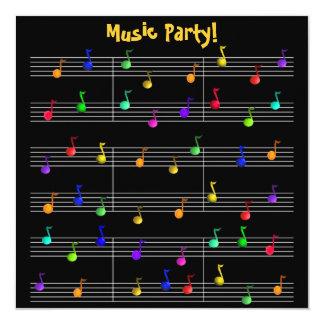 Inbjudan för födelsedagsfestmusikanpassade fyrkantigt 13,3 cm inbjudningskort