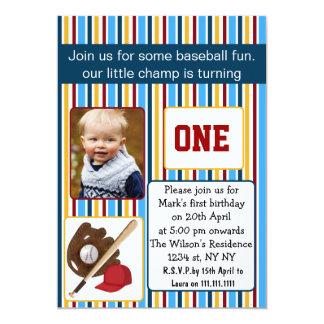 inbjudan för foto för födelsedag för blåttbaseball