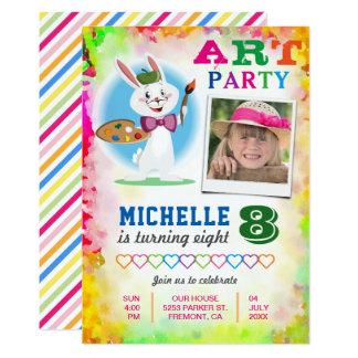 Inbjudan för foto för födelsedag för målning för