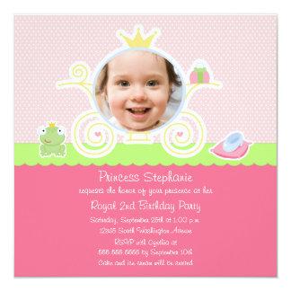 Inbjudan för foto för Princessfödelsedagsfestvagn
