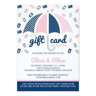 Inbjudan för gåvakortbaby shower, marin, rosa