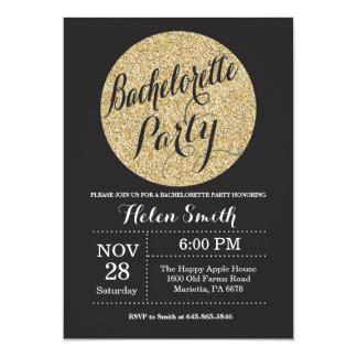 Inbjudan för glitter för Bachelorette partysvart