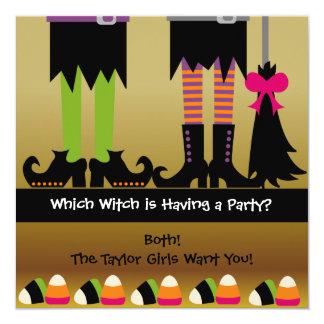 Inbjudan för häxaHalloween födelsedagsfest Fyrkantigt 13,3 Cm Inbjudningskort