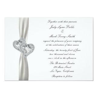 Inbjudan för hjärtavitbröllop
