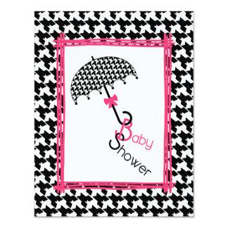Inbjudan för Houndstooth paraplybaby shower