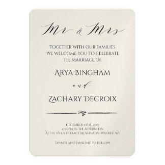 Inbjudan för klassikerchampagnebröllop