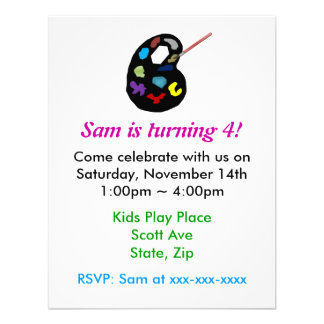 Inbjudan för konstbarns födelsedagparty