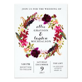 Inbjudan för kran för Burgundy vattenfärg blom-