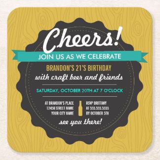 Inbjudan för kustfartyg för hantverkölfödelsedag underlägg papper kvadrat