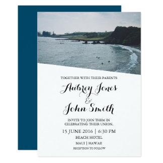 Inbjudan för Maui Hawaii surfabröllop
