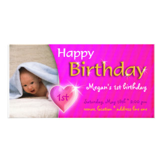 Inbjudan för Megan födelsedagfoto Fotokort