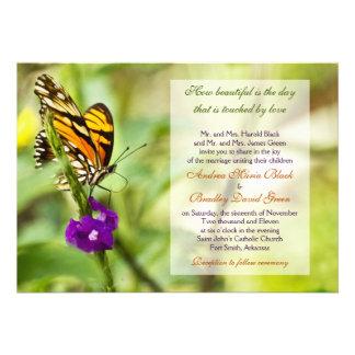 Inbjudan för monarkfjärilsbröllop