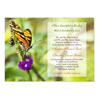 Inbjudan för monarkfjärilsbröllop 12,7 x 17,8 cm inbjudningskort