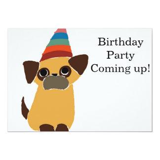 Inbjudan för mopsfödelsedagkort