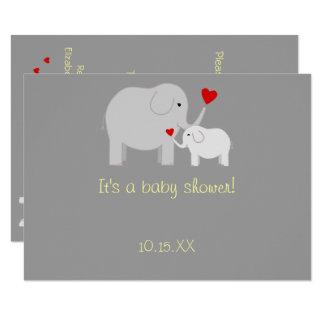 Inbjudan för neutralt för elefantbaby showergender