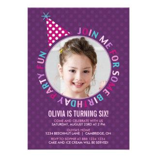 Inbjudan för party för barns födelsedag för lilapa