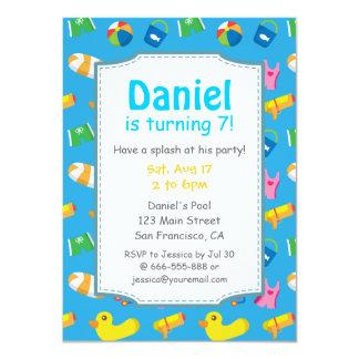 Inbjudan för party för bassäng för födelsedag för