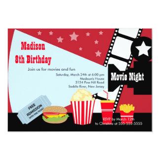 Inbjudan för party för filmnattbarns födelsedag