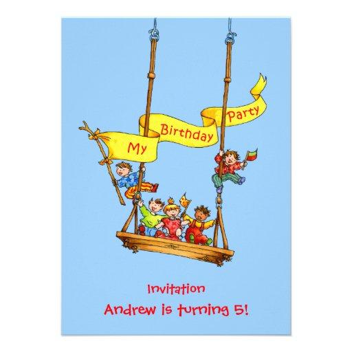 Inbjudan för party för gungafödelsedagungar