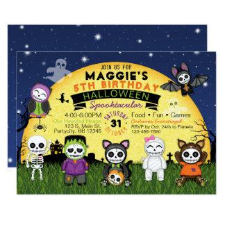 Inbjudan för party för Halloween födelsedagdräkt
