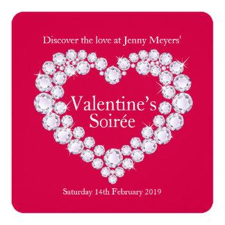 Inbjudan för party för hjärta för fyrkantigt 13,3 cm inbjudningskort
