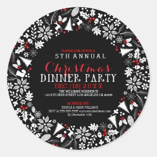 Inbjudan för party för middag för vitjulkran runt klistermärke