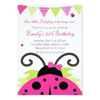 Inbjudan för party för nyckelpigashock rosabarns