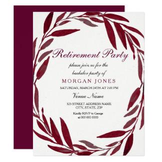 Inbjudan för party för pension för Burgundy