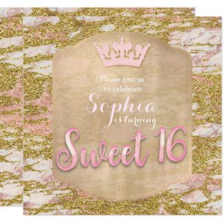 Inbjudan för party för Princess SÖTSAK 16 för rosa