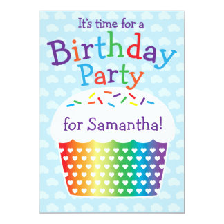 Inbjudan för party för regnbågemuffinbarns