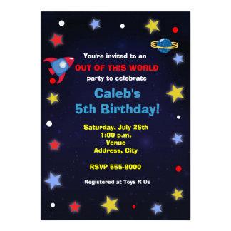Inbjudan för party för rymdenraketbarns födelsedag