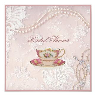 Inbjudan för party för Tea för pärlemorfärg rodna