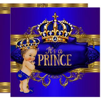 Inbjudan för Prince baby shower för kungliga blått