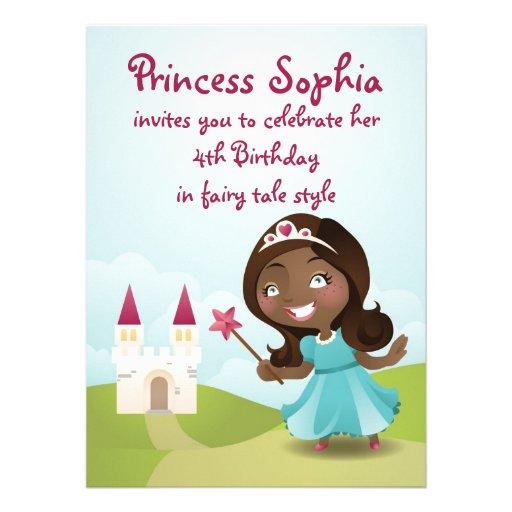 Inbjudan för Princess födelsedagsfest