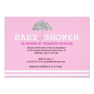 Inbjudan för rosaglitterbaby shower