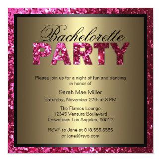 Inbjudan för shock rosaglitterBachelorette party