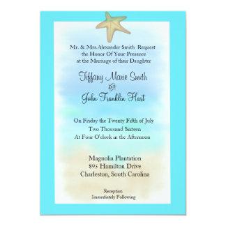 Inbjudan för sjöstjärnasnäckskalbröllop inbjudningskort