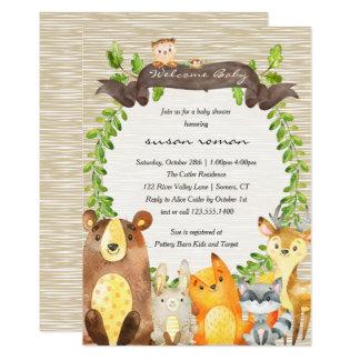 Inbjudan för skogsmarkdjurbaby shower