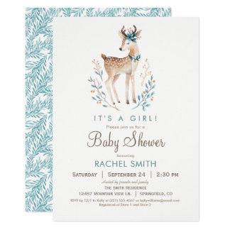 Inbjudan för skogsmarkhjortbaby shower