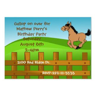 Inbjudan för tecknadhästfödelsedag