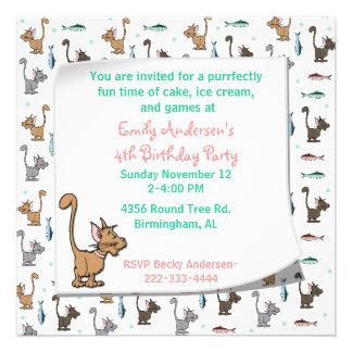 Inbjudan för tecknadkattungefödelsedag