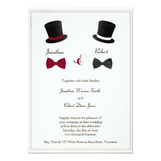 Inbjudan för top hatflugaBurgundy glad bröllop