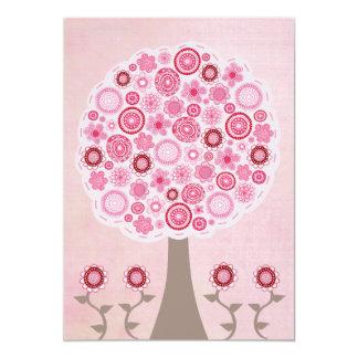 Inbjudan för träd för rosapartyfödelsedag märkes-