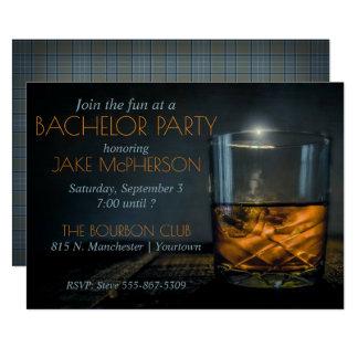 Inbjudan för ungkarl för Bourbon gentlemanpläd
