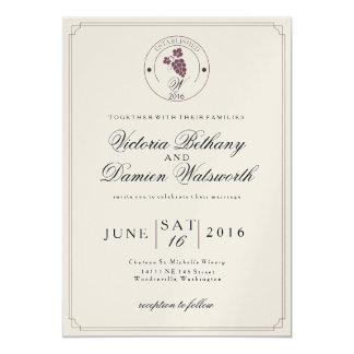 Inbjudan för vintage bröllop för vinvingård modern
