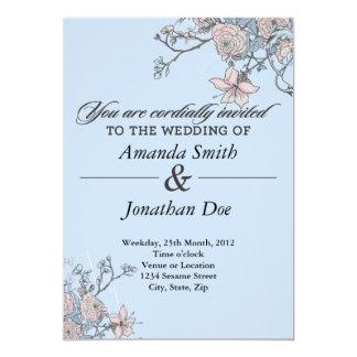Inbjudan för vintageblommabröllop